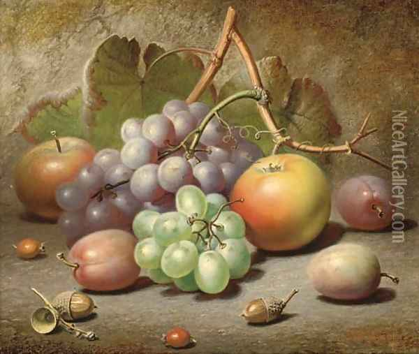 Grapes, apples, plums and acorns on a mossy bank Oil Painting - Charles Archer