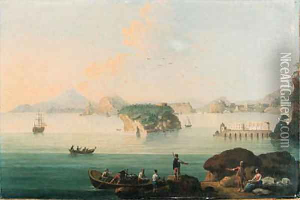 View of Pozzuoli, with fishermen bringing in their catch in the foreground, Vesuvius beyond Oil Painting - Pietro Antoniani