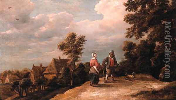 Peasants returning from market on a sandy path by a village Oil Painting - Thomas Van Apshoven
