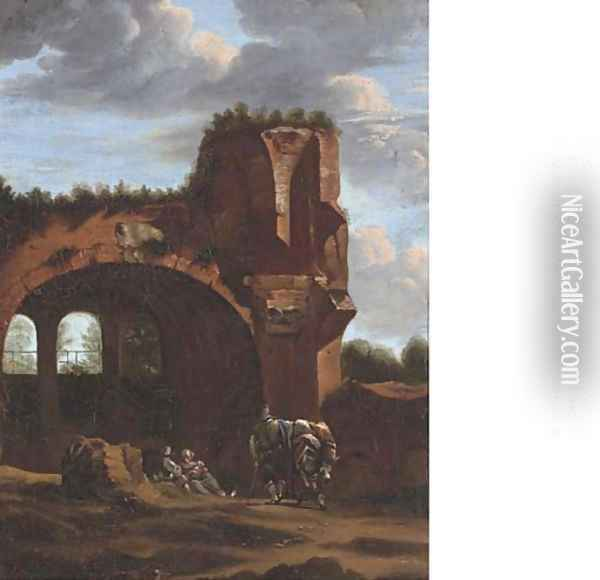 An Italianate landscape with travellers at rest by a classical arch Oil Painting - Jan Asselyn
