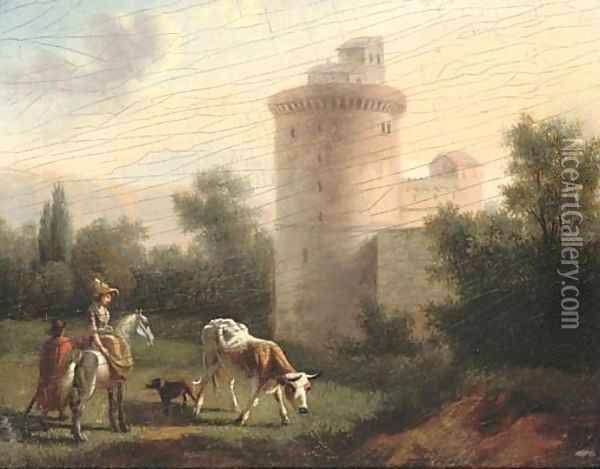 A landscape with a lady on horseback, classical building beyond Oil Painting - Jan Asselyn