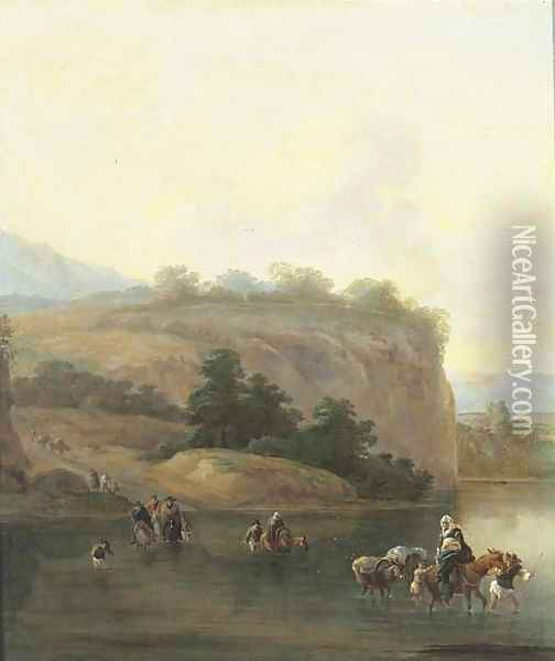 An Italianate landscape with muleteers crossing a river Oil Painting - Jan Asselyn