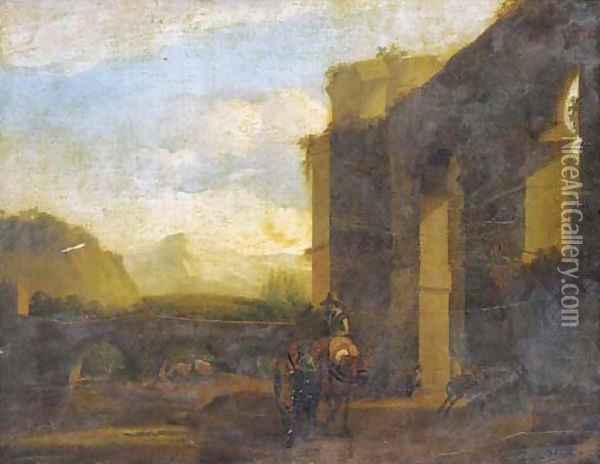 An Italianate landscape with travellers by a bridge near classical ruins Oil Painting - Jan Asselyn