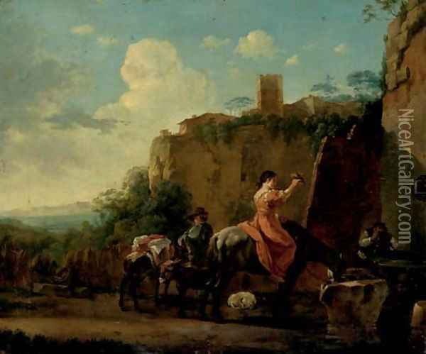 Travellers on horseback at rest by a well, a hilltop town beyond Oil Painting - Jan Asselyn