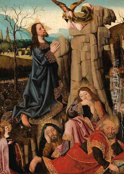 The Agony in the Garden, with Saints Catherine of Alexandria and Onophrius Oil Painting - School Of Arras