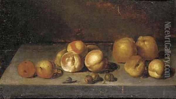 Apples, peaches, walnuts and a snail on a stone ledge Oil Painting - Bartholomeus Assteyn