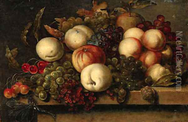 Grapes, peaches, redcurrants, cherries, an apple and a dragonfly on a ledge Oil Painting - Bartholomeus Assteyn