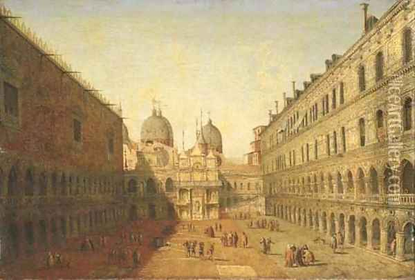 The courtyard of the Doge's Palace, Venice, looking North Oil Painting - Francesco Albotto
