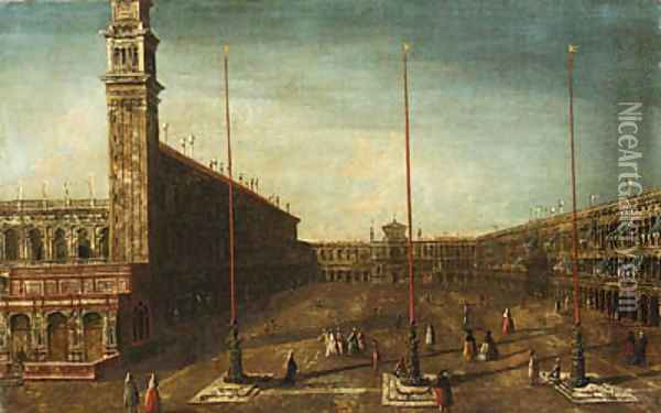 The Piazza San Marco, Venice, looking West towards San Geminiano Oil Painting - Francesco Albotto