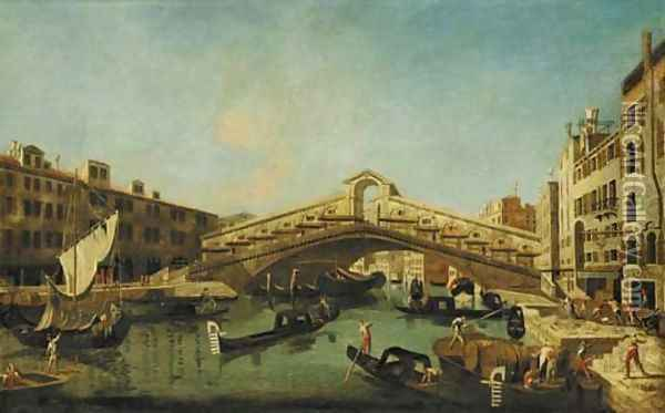 The Grand Canal, Venice, with the Rialto Bridge Oil Painting - Francesco Albotto