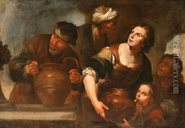 Peasants drawing Water from a Fountain Oil Painting - Gioacchino Assereto