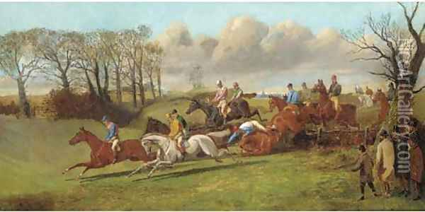 Over the fence, a steeplechase Oil Painting - Henry Alken
