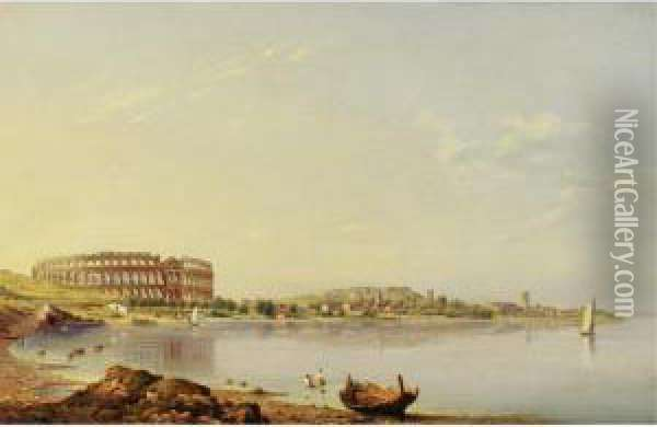 View Of Pula With The Roman Arena, Istria Oil Painting - August Anton Tischbein