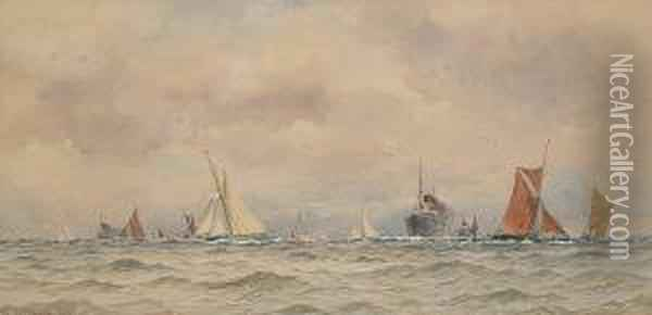 Busy Shipping Lane Oil Painting - William Stephen Tomkin