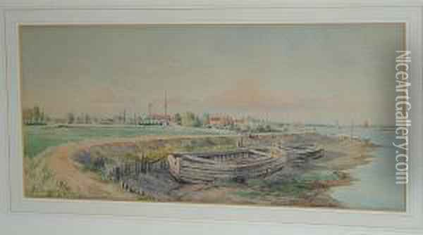 Old Barges Oil Painting - William Stephen Tomkin