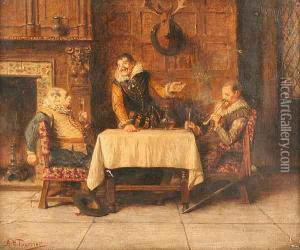 Interior Scene With Three Men Drinking At A Table Oil Painting - Alfred Holst Tourrier
