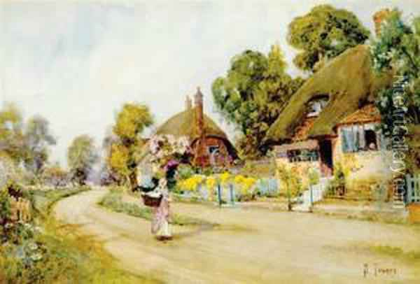 Thatched Cottages Along Country Lane Oil Painting - Samuel Towers