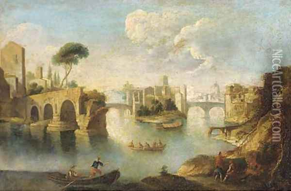 The Tiber, Rome, looking north past the ruins of the Pons Aemilius to the Insula Tiberina Oil Painting - Paolo Anesi