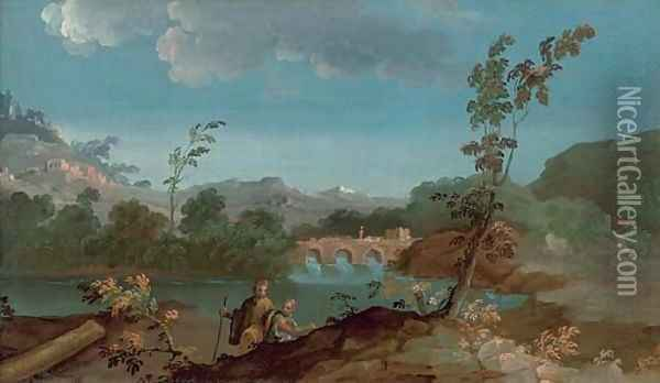 A river landscape with two travellers, a bridge beyond Oil Painting - Paolo Anesi