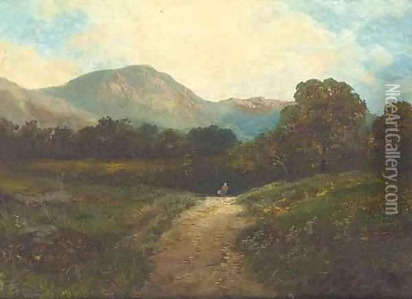 On the Barmouth road; and Old lock, near Chiddingfold Oil Painting - James E. Adams