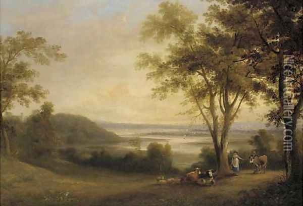 A milkmaid with a drover before a river estuary, a town beyond Oil Painting - George Arnald