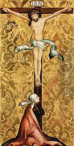 The Crucifixion with a female Saint at the foot of the Cross Oil Painting - Master Of The St. Bartholomew Altarpiece