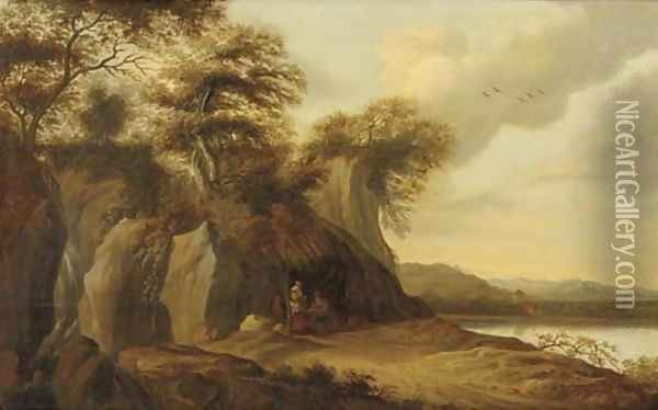 A river landscape with a merchant selling his wares beneath a straw canopy by a grotto Oil Painting - Pieter Jansz. van Asch