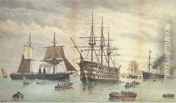 H.M.S. Victory amidst ironclads lying at anchor in the harbour, Portsmouth Oil Painting - William Edward Atkins