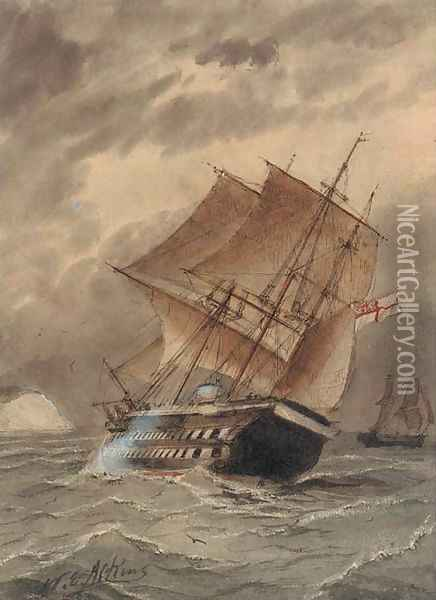 A Royal Naval two-decker heeling in the breeze Oil Painting - William Edward Atkins