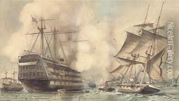 H.M.S. Victory saluting a Royal Navy brig being towed past the old flagship's permanent mooring into Portsmouth harbour Oil Painting - William Edward Atkins