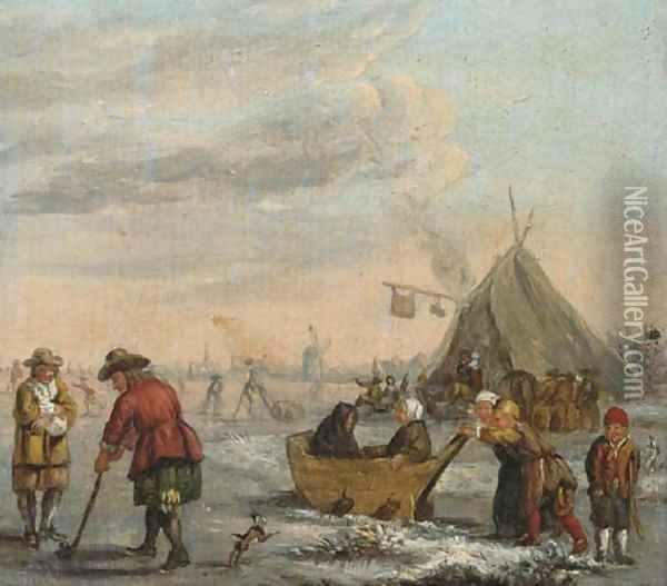 A winter landscape with men playing kolf and children on a sledge Oil Painting - Barent Avercamp