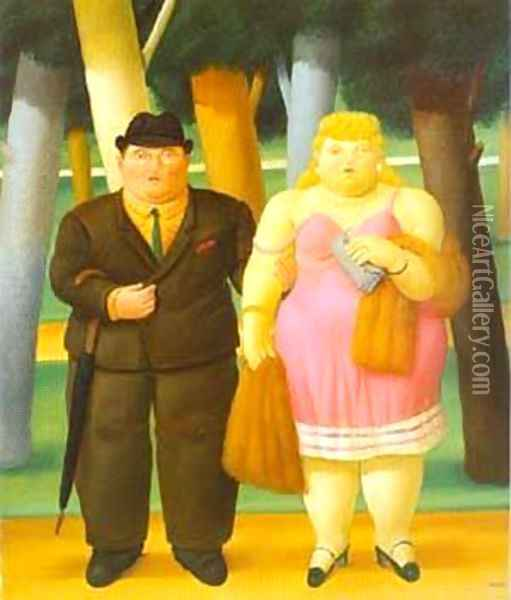A Couple 1999 Oil Painting - Fernando Botero