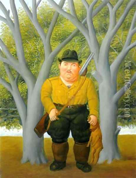 A Hunter El Cazador Oil Painting - Fernando Botero