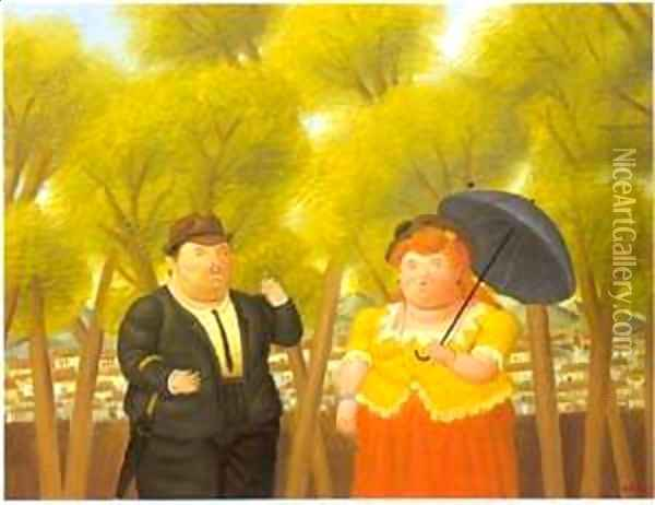 A man and a woman 1989 Oil Painting - Fernando Botero