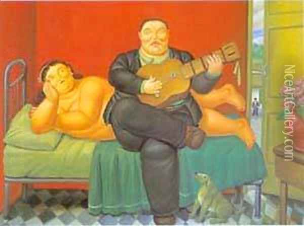 A Concert 1995 Oil Painting - Fernando Botero