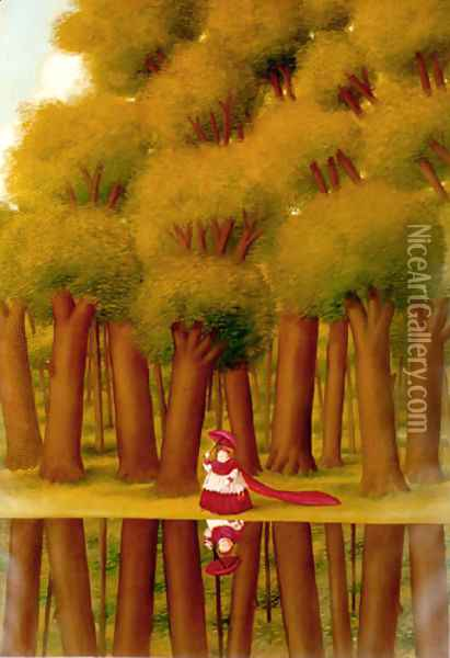 Walking Next To The River Oil Painting - Fernando Botero