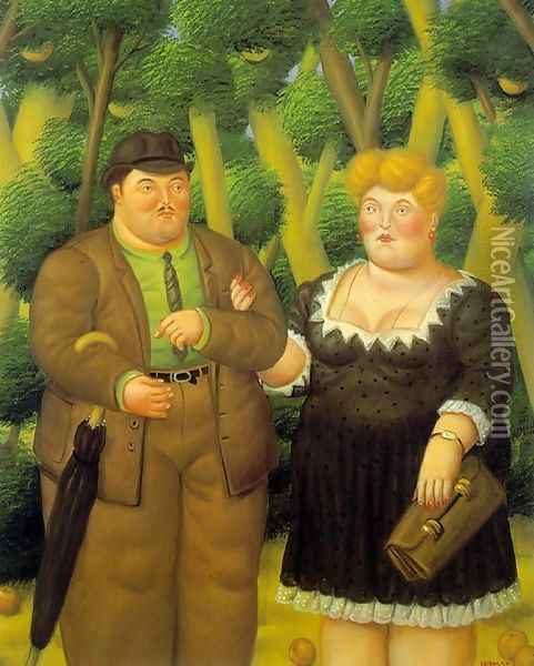 A Couple Oil Painting - Fernando Botero