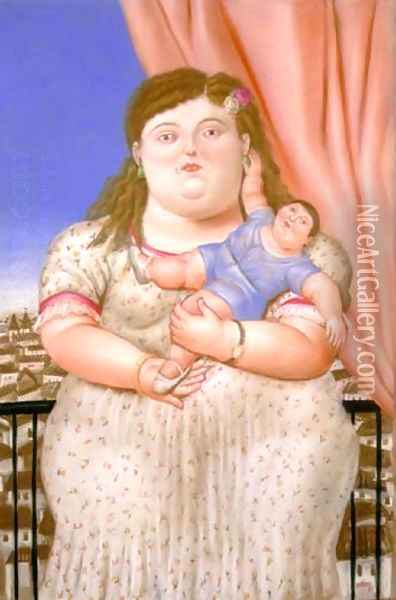Mother And Son Madre E Hijo Oil Painting - Fernando Botero
