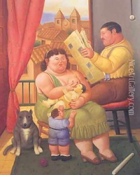 A Family III Oil Painting - Fernando Botero