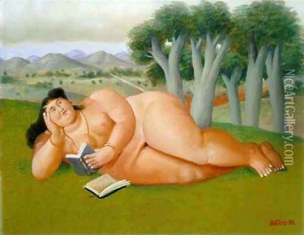 Woman Reading Mujer Leyendo Oil Painting - Fernando Botero