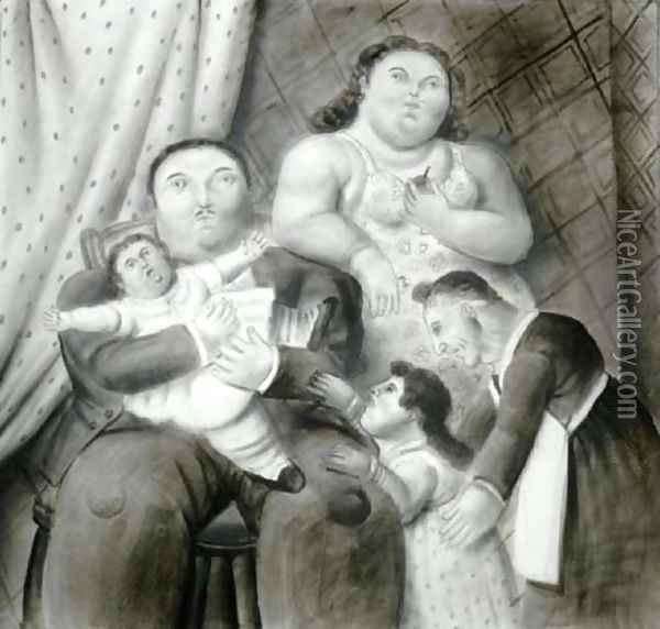 A Family Oil Painting - Fernando Botero