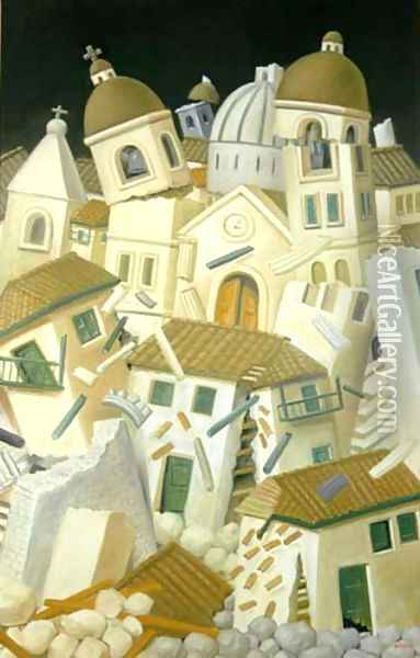 Earthquake Oil Painting - Fernando Botero