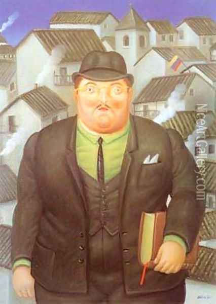 A Lawyer Oil Painting - Fernando Botero