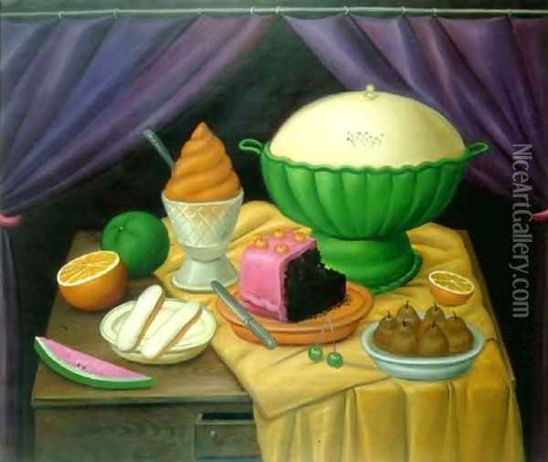 Still Life With Ice Cream Helado Oil Painting - Fernando Botero