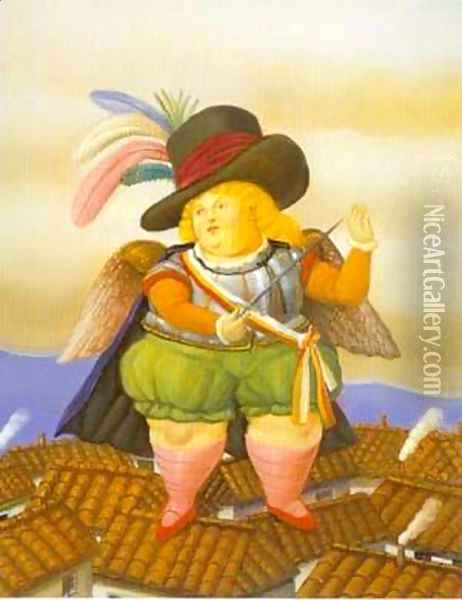 Archangel With Black Hat 1995 Oil Painting - Fernando Botero