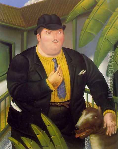 Man With A Dog Hombre Con Perro Oil Painting - Fernando Botero