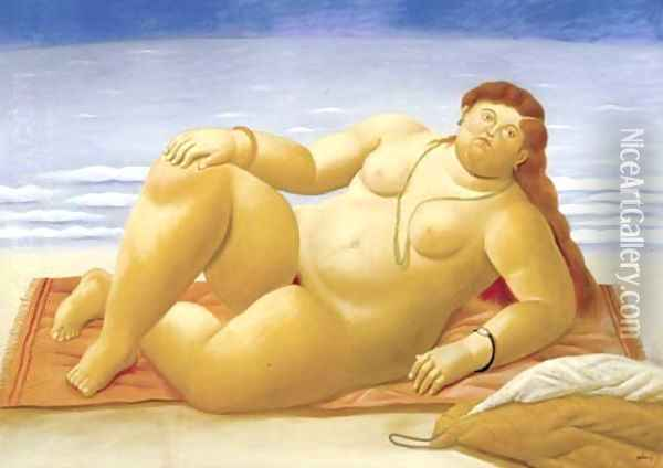 La Playa Oil Painting - Fernando Botero