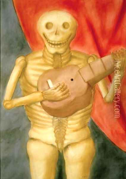 Dead Playing Guitar La Muerte Tocando Guitarra Oil Painting - Fernando Botero
