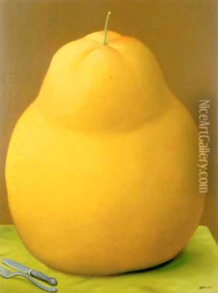 Pear Pere Oil Painting - Fernando Botero