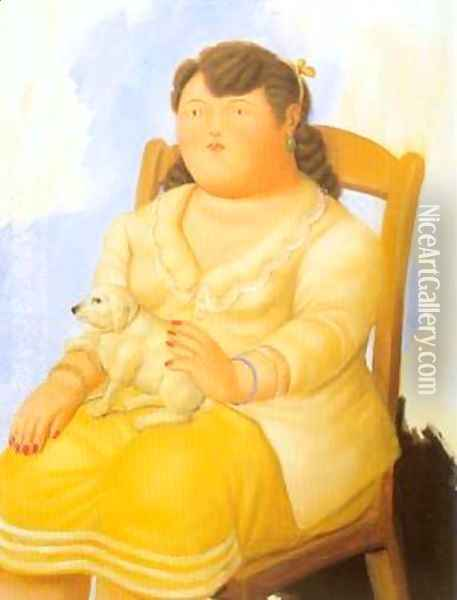 Woman with dog 1996 Oil Painting - Fernando Botero